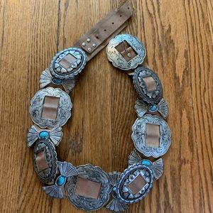 Leatherock Silver & Turquoise Embellished Belt